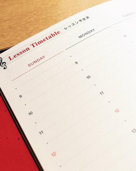 レッスン手帳2016 レッスン予定表